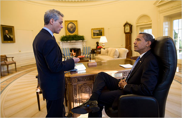 President Obama and Rahm Emanuel on Day 1 in Oval Office with Prized Grandfather Clock