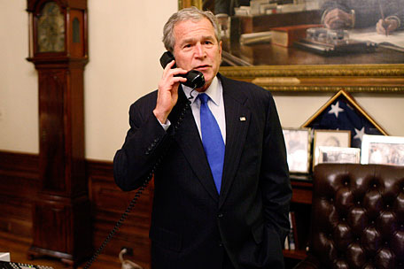 Now Ex-President Bush and grandfathers clock call Now President Obama