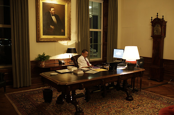 Granfather Clocks in White House Obamas Private Office Ulysses S Grant Painting