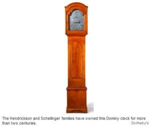 The Hendrickson and Schellinger families have owned this Dominy clock for more than two centuries. Sotheby's
